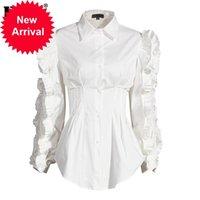 [EAM] Women White Ruffles Split Temperament Blouse New Lapel Long Sleeve Loose Fit Shirt Fashion Tide Spring Autumn 2020 1DA247