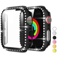 Diamond Screen Protector Case for Apple Watch band iwatch 44mm 42mm 40mm 38mm Bling Crystal Full Cover Protective Cases PC Bumper