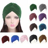 Шарф для волос Chemo Cap Gold Яркая шелковая шляпа мусульманский тюрбан шляпа женские растягивающиеся мягкий индийский стиль тюрембана взрослые шляпа головы обертываются банданы
