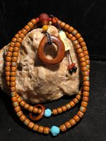 Wholesale Natural Xingyue Bodhi Seed Inlaid Turquoise Coral Ten Years Old Bead Necklace Bone Amber Collectible Jewelry Chains