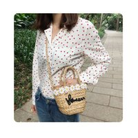 Sacos de desenhista de luxo Handbag2018 New Beach bag saco de palha tecida saco ombro portátil gourd grama pequena flor frescas menina japonesa mulheres