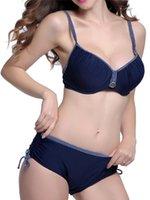 Plus Size Backless Underwire Swimwear Push Up Deep V Eng Cathe Bikini Set