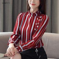 Kadın Bluzlar Gömlek Semfri Şifon Ofis Bayan Gömlek 2021 İlkbahar Sonbahar Moda OL Stil Şerit Blusas Kore Versiyonu Tasarım Blo Tops