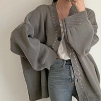 Women's Jackets Women Jacket 2021 Korea Fashion Simple Casual Contrasting Line Design V-neck Double Pocket Knit Cardigan Sweater