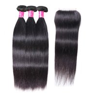 Recto 3 paquetes con cierre de encaje 4x4 Natural 1b Color Brasileño Virgen Human Hair Weave Full Head Indian Peruian Malassian Hair Extensions