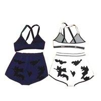 빈티지 비치 브래지어 팬티 조수 편지 자카드 니트 란제리 수영복 여자 부드러운 편안한 속옷 수영복 수영복 수영복