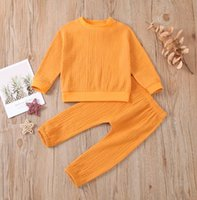Clothing Sets Baby & Children's 0-24M Born Girls Boys Clothes Solid Long Sleeve Pullover Sweatshirt Tops Pants Autumn Outfit
