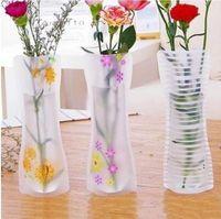 50 قطع الإبداعية واضح pvc البلاستيك المزهريات حقيبة المياه صديقة للبيئة قابلة للطي زهرة زهرية قابلة لإعادة الاستخدام المنزل حفل زفاف الديكور BWB6903