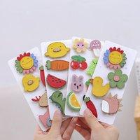 Hair Accessories Cute Children Girls PU Leather Knitting Wool Flower Fruit Cartoon Set Colorful Clips Sweet