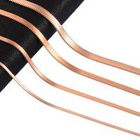Ketten Edelstahl Schlange Rose Gold Farbe Tone Halskette Flache Kette Schmuck Geschenk DIY Erkenntnisse Zubehör