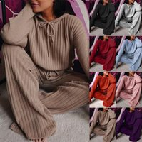 Spring Knitting Female Sweater Pantsuit for Women Two Piece Set Knitted Pullover V-neck Long Sleeve Top Lady Wide Leg Pants Suit