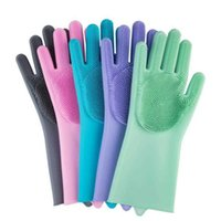 قفازات التنظيف 1pairs = 2 قطع السحر سيليكون المطاط طبق غسيل صديقة للبيئة الغسيل لغسيل المطبخ متعددة الأغراض حمام مجانا ZWF5