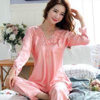 Pajamas Spring Autumn Style Womens Sleepwears Long Sleeve Nightwear Ice Silk Korean Version Thin Home Furnishing Summer Sleepwear Suit