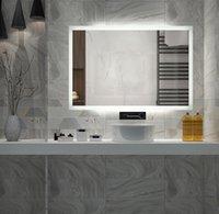 Diyhd Difusores Diyhd LED Backlit Banheiro Espelho Vanity Quadrado Montagem de Parede Banheiro Toque de Finger Luz Espelhos