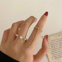 Богемное золото длинное цепочное кольцо для женщин мода старинные подражание жемчужные кольца наборы свадьбы тренды ювелирных изделий подарок