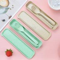3pcs cuillère cuillère fourchette baguettes de fourgonnettes de paille de blé écologique ensembles de coutellerie de vaisselle portable Camping Vaisselle Vaisselle enfants BH4543 TQQ