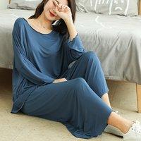 100KG 3XL Plus Taille Femme Modal Homewear Homewear Automne Femelle Pyjamas Mesdames Atoff Accueil Modal 2pieces Ensemble de vêtements de nuit Pyjamas pour femmes