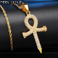 Pendant Necklaces Iced Out Bling Cross Rhinestone Ankh Pendants & For Men HIP Hop Jewelry Key Of Life With Chain Drop