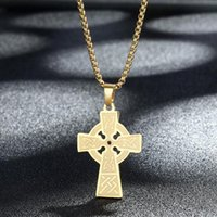 Pendant Necklaces Handmade Celtic Cross Necklace For Men Stainless Steel Jewelry Religious Christian Jesus Crucifix Punk Collar