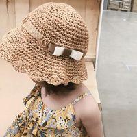 INS Verano Flor Arco Sombreros Para Niñas Paja Niños Bebé Niño Bucket Sombrero Hecho A Mano Panamá Vacaciones Playa Caps