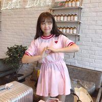 Summer Pink Preppy Dress Cute New Short Sleeve Casual Fashion Harajuku Cute Japanese New Love Embroidery Female Kawaii Dress WGBSQ042
