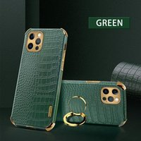 Luxury Business pu Leather Crocodile Texture Cover Phone Cases For iPhone 12 11 Pro X Xr Xs Max 7 8 Plus with Ring Holder kickstand case