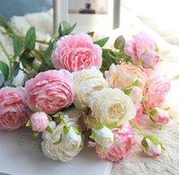 Fiori decorativi Corone 61 cm fiore artificiale rosa seta mariage festa di compleanno festa western wedding ranunculus asiaticus ramo home decor