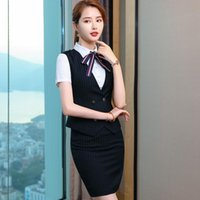 Two Piece Dress Formal Business Suits 2 Pieces Sets Skirt And Vest & Waistcoat Blouse Novelty Blue Uniform Styles Work Wear Ladies Blazers