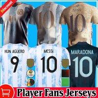 Crianças retrô 1986 Argentina Diego Maradona Maradona Jerseys Messi Dybala 2021 2022 Copa América Comemorar Camiseta Jogador Fãs Versão 20 21 22 Camisas de Futebol