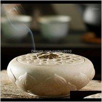 Duftleuchten Düfte Dekorgarten Drop Lieferung 2021 Keramik Rückfluss Kreative Lotusförmige Spule Räucherbrennerhalterung In Heim von