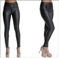 Women's Pants & Capris Women Solid Long Trousers Leggings With Pockets Black High Waist Faux Leather Skinny Female Casual Street Clothes S-3