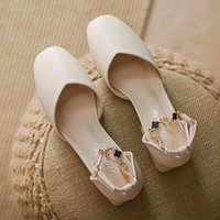 Dress Shoes 2021 One-line Buckle Mary Janes Women's Pumps Shallow Mouth Mid-heel For Women Spring Summer Autrumn A044