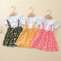kids Clothing Sets Girls suspender outfits children ruffle collar Tops+Dot strap dress 2pcs set summer fashion Boutique baby clothes Z3901