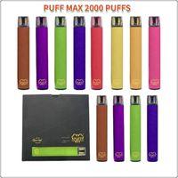 Puff bar max jetable Vape Stylo Cigarettes électroniques 13 Couleurs Dispositif 2000 Puffs 1200mAh Batterie 8.5ml Cartouches pré-remplies Pré-remplies Vapeurs d'origine Grossales