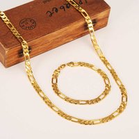Fashion 24 k Yellow Solid Gold Finish Men's or Women's Trendy Bracelet 21cm Necklace Set Figaro Chain Watch Link