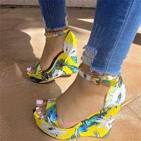 Dress Shoes Summer Women Sandals Leisure Comfortable Printing Thick Bottom Slope Heel Fashion Mujer Sandalias