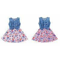 День независимости 2-6-летний детские девочки лоскутное джинсовое платье с американской печатью платья девушки