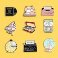 Gashapon enamel pins Vintage machine badges Piano typewriter brooches Record Crystal ball Backpack hat Lapel pin Classic Jewelry