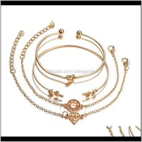 Drop Delivery 2021 4Pcs Set Fashion Bohemia Leaf Knot Hand Cuff Link Chain Charm Bracelet Bangle For Women Gold Bracelets Femme Jewelry 6115