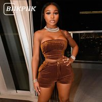 Women's Tracksuits BIIKPIIK Solid Female Suits Strapless Top+Shorts Matching Sets Basic Casual Lounge Wear Summer 2021 Fashion Vintage