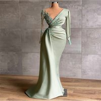 Long Sleeves Prom Dresses Sexy V Neck Beads Appliqued Lace Robe De Soiree Chic Abendkleider Custom Made Evening Gowns
