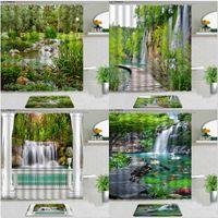 Shower Curtains 2pcs Natural Scenery Non-slip Carpet Rug Waterfall Landscape Tropical Flower Plant Bathroom Decor Set Bath Mat