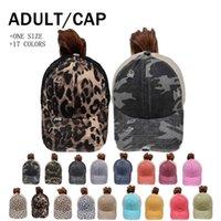 Cross Border oferece chapéus de rabo de cavalo em 16 cores lavado malha leopardo camuflagem oco beisebol bonés