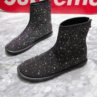 2021 جديد إمرأة أحذية كاملة كريستال حجر الراين الكاحل أحذية اليدوية لينة الشقق السيدات حزب حفلة موسيقية اللباس الأحذية 1