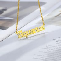 Old English Zodiac Sign Necklaces For Women Men Gold Silver Color Stainless Steel Chain Constellations Pendant Necklace Jewelry