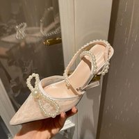 European and American New Mh Pearl Baotou Dunne Hooks Sandals Pointed Bow High Hooks Women