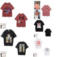 T-shirts de los hombres letra tridimensional impresión cruzada sonriente angel manga corta hip hop street suelta camiseta 0101