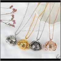 Pendants Jewelry Drop Delivery 2021 Angel Wings Aroma Diffuser Necklaces Living Memory Floating Magic Locket Multilayer Folding Family Po Pen