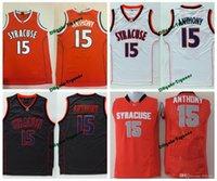 Mens Syracuse Orange Camerlo Anthony College Basketball Jerseys Camerlo Anthony N ° 15 Chemises Jersey de basket-ball cousu