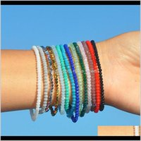 Beaded, Strands Jewelrycolorful Crystal Bracelet Women Girls Fashion Simple Beads Charm Bracelets 14 Color Fine Jewelry Good Gift T146 Drop D